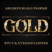 Ornate Gold Alphabet Font. Jeweler Golden Letters And Numbers With Diamond Gemstones. Stock Vector T poster