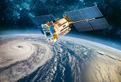 Space satellite monitoring from earth orbit weather from space, hurricane, Typhoon on planet earth.  poster