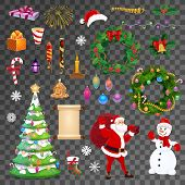 Christmas Isolated Objects, Transparent Background. Vector Santa, Candle And Scroll, Holly Berry, Sn poster