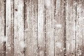 Grunge Wood Planks With Snow Flakes Falling On. Christmas Background poster