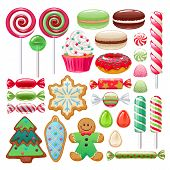 Colorful Christmas Sweets Set - Hard Candy, Chocolate Eggs, Candy Canes, Jellies. Vector Illustratio poster