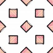 Seamless Pattern, Handdrawn Three Color Blush, Makeup Droducts poster