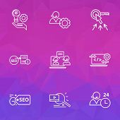 Engine Icons Line Style Set With Seo Report, Seo Tag, Creative Services And Other Operator Elements. poster