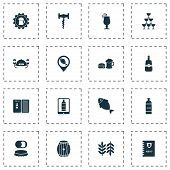 Beverages Icons Set With Wine In The Tab, Wheat, Badge And Other Beer Sticker Elements. Isolated  Il poster