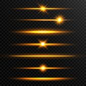 Shining Line Set. Golden Realistic Lens Flare Set. Collection Of Gold Light Effects On Transparent B poster