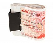 stock photo of bundle money  - Bundle of 50 pound sterling bank notes fasten with paper clip - JPG