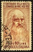 ITALY - CIRCA 1952: A stamp printed in Italy celebrates the fifth centenary of Leonardo da Vinci's b