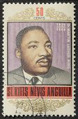 ST. CHRISTOPHER-NEVIS-ANGUILLA - CIRCA 1968: a stamp printed in St. Christopher celebrates Martin Lu