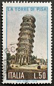 ITALY - CIRCA 1973: a stamp printed in Italy shows image of the leaning tower of Pisa, Italy, circa