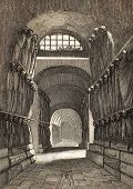 foto of catacombs  - Antique illustration of Cappuccini Catacombs in Palermo - JPG