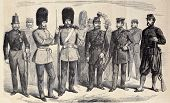 Old illustration of British riflemen uniforms. Original, from drawing of G. Durand, was published on