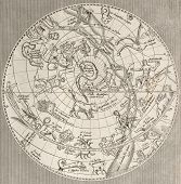 foto of hemisphere  - Antique illustration of  Celestial Planisphere  - JPG
