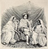 stock photo of algiers  - Antique illustration of Moorish women in home interior in Algiers - JPG