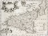 stock photo of sicily  - An old map of Sicily - JPG