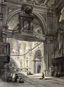 stock photo of carmelite  - Old illustration of Madonna del Carmine church interior in Naples - JPG