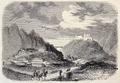 View of Aden inland. Original, from drawing of Rouargue, after sketch of Deschiens, was published on