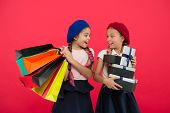 Shopaholic Concept. Shopping Become Fun With Best Friends. Children Satisfied By Shopping Red Backgr poster