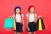 Children Pupils Satisfied By Shopping Red Background. Obsessed With Shopping And Clothing Malls. Sho poster