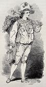Old illustration of Rag sorter costume for Grand Masquerade Ball of 1868 season. Original, created b