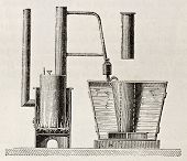 Old illustration of first absorption refrigerator apparatus invented by Carre Original, from unknown