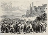 stock photo of revolt  - Old illustration of  workers riot at Hazard cool mine - JPG