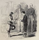 picture of bonaparte  - Antique illustration of a boy presenting nest to Prince Imperial Louis Napoleon Bonaparte - JPG