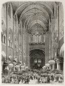 Old illustration of new organ inauguration in Notre Dame de Paris, France. Created by Provost and Co