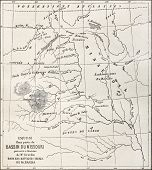 Old map of part of Missouri basin in Nebraska, USA. Created by Erhard and Bonaparte, published on Le