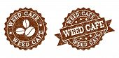 Weed Cafe Rubber Stamps. Vector Seals In Chocolate Color With Round, Ribbon, Rosette, Coffee Bean El poster