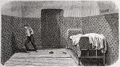 Antique illustration of a padded room at psychiatric hospital Saint Anne, Paris. Creatd by Gaildrau,