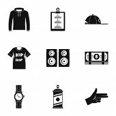 Gangsta Rap Icon Set. Simple Set Of 9 Gangsta Rap Icons For Web Design On White Background poster