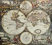 foto of south-pole  - Old map of world hemispheres - JPG