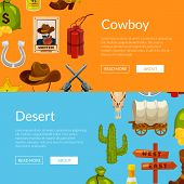 Vector Cartoon Wild West Elements Web Banner And Poster Page Templates Illustration poster
