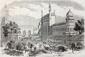 Old illustration of main street in Lucknow, India. Created by Freeman and Godefroy-Durand after De L