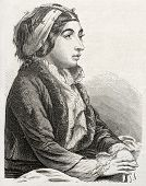 picture of constantinople  - Old engraved portrait of Turkish woman in Constantinople - JPG