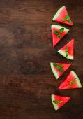 Watermelon Slice On Rustic Wood Background With Copyspace.. Flat Lay. Summertime Concept. poster