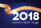 Happy New Year Postcard Design With Golden Band. Inscription With Golden Sparkling Band On Dark Blue poster