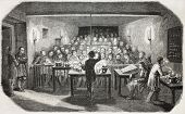 Old illustration of an industrial chemistry lesson for workers. Created by Flemeng, published on L'I