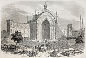 picture of darwaza  - Old illustration of Rumi Darwaza gateway in Lucknow - JPG