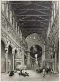 stock photo of messina  - Old illustration of Messina cathedral interior - JPG
