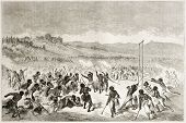 stock photo of choctaw  - Old illustration of native American Choctaw traditional play ball match - JPG