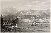 picture of messina  - Old illustration of the port of Messina - JPG