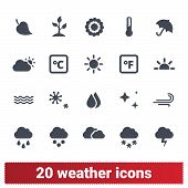 Weather Forecast And Climate Conditions Vector Icons Collection. Environment, Atmosphere, Meteorolog poster