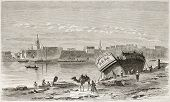 Suez port old view. Created by Girardet after Lejean, published on Le Tour du Monde, Paris, 1860