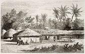 Постер, плакат: Kaouele Село Старый вид Танзания Созданный Лавьеилье после Бертон Опубликовано Le Tour du Monde