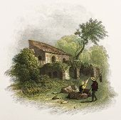 Sicilian cottage old illustration. Created by De Wint and Pye, printed by McQueen, publ. in London,