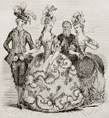 Court Ball in 1785: Costumes of marie Antoniette, Counts of Provence and Count of Artois. Created by