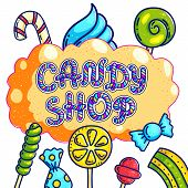 Candy Shop Hand Drawn Vector Logo Design. Candy Lettering On Orange Bubble Gum For Sweets Bar Sign B poster