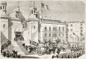 stock photo of algiers  - Napoleon III and Empress Eugenie arrival in Algiers cathedral - JPG
