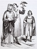 French medieval costumes old illustration: princess and chaperone holding a falcon . After Mallot an